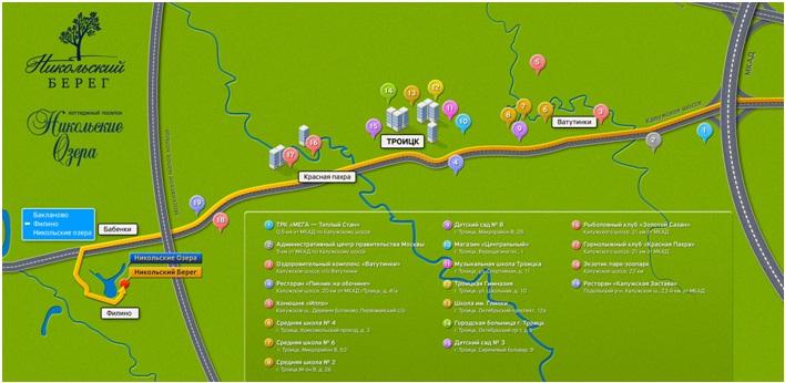 Карта проезда к озеру Никольское
